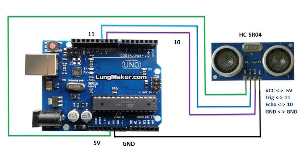 เชื่อมต่อสาย HC-SR04 กับ Arduino UNO