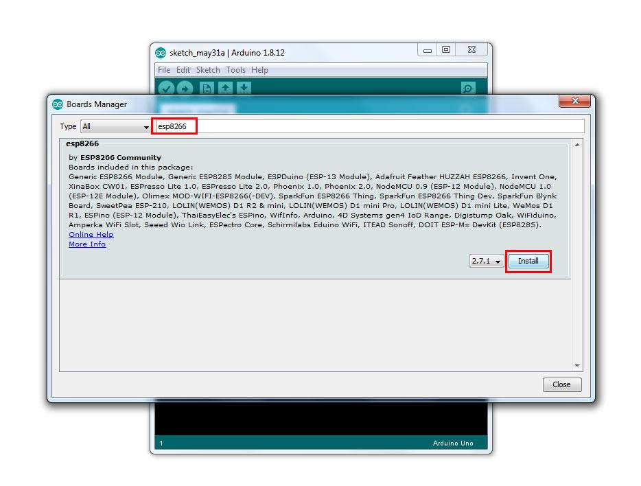 พิมพ์ esp8266  จะพบ esp8266 by ESP8266 Community