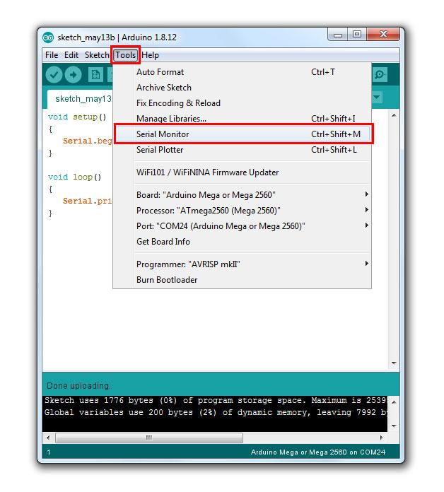เปิด Serial Monitor ของ Arduino IDE