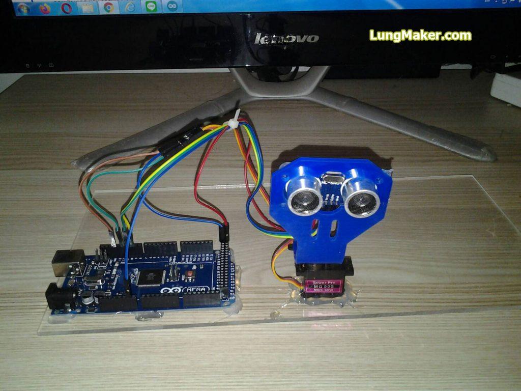 ภาพการต่อโปรเจค เครื่องตรวจจับเรดาร์ อัลตร้าโซนิค Arduino MEGA