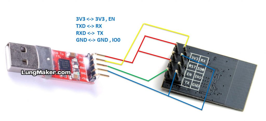 เชื่อมต่อสายระหว่าง CP2102 USB กับ ESP-01