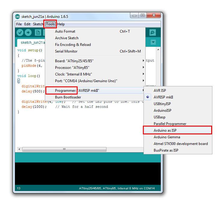 ไปที่ Tools -> Programmer -> Arduino as ISP