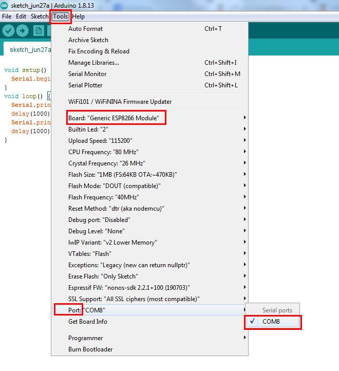 เลือก Port โดยไปที่ Tools -> Port -> COM