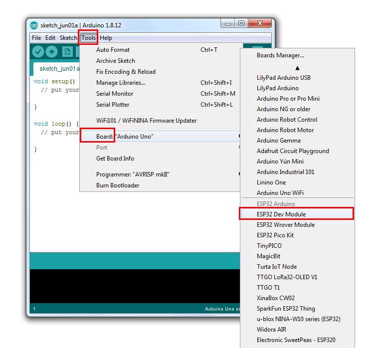 ESP32 Dev Module แสดงว่าการติดตั้ง แพลตฟอร์ม ESP32 ของเราสำเร็จแล้ว