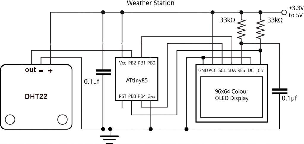 สถานีตรวจวัดอากาศ ATtiny85 ด้วย DHT22