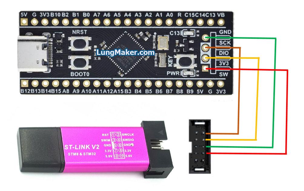 เชื่อมต่อสาย ST-Link V2 กับ STM32F411CEU6