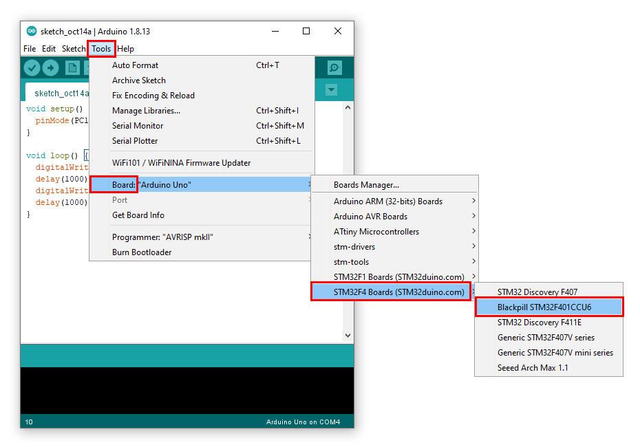 ไปที่ Tools -> Board -> STM32F4 Boards (STM32duino.com) -> Blackpill STM32F401CCU6