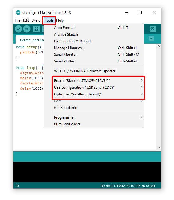 การใช้งานบอร์ด STM32 STM32F411CEU6 กับ Arduino IDE