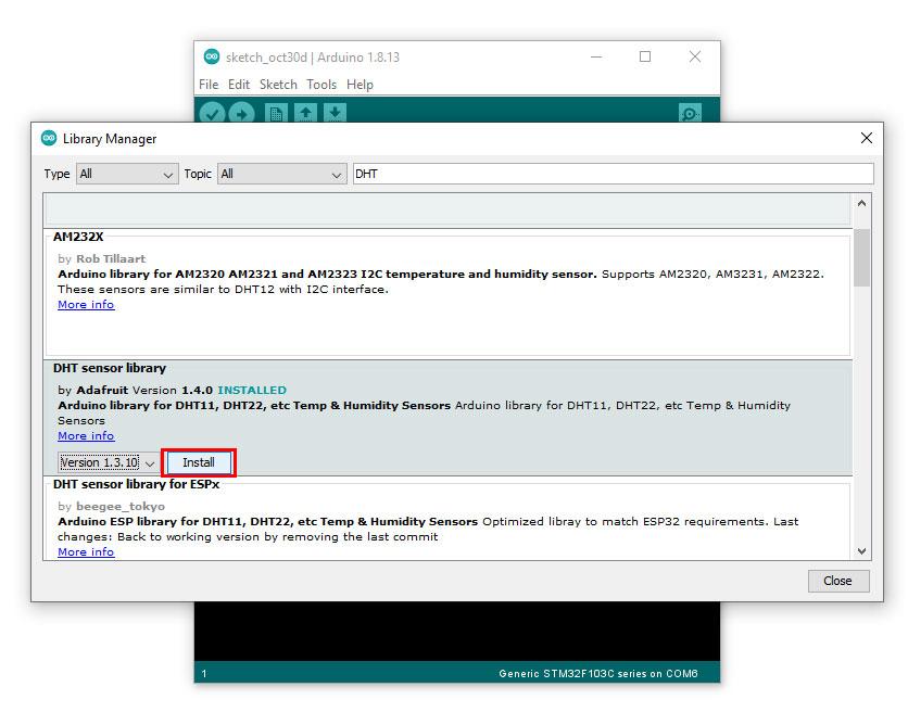 เลื่อนเมาส์ไปที่ DHT sensor library เลือกเวอร์ชัน แล้ว คลิก Install