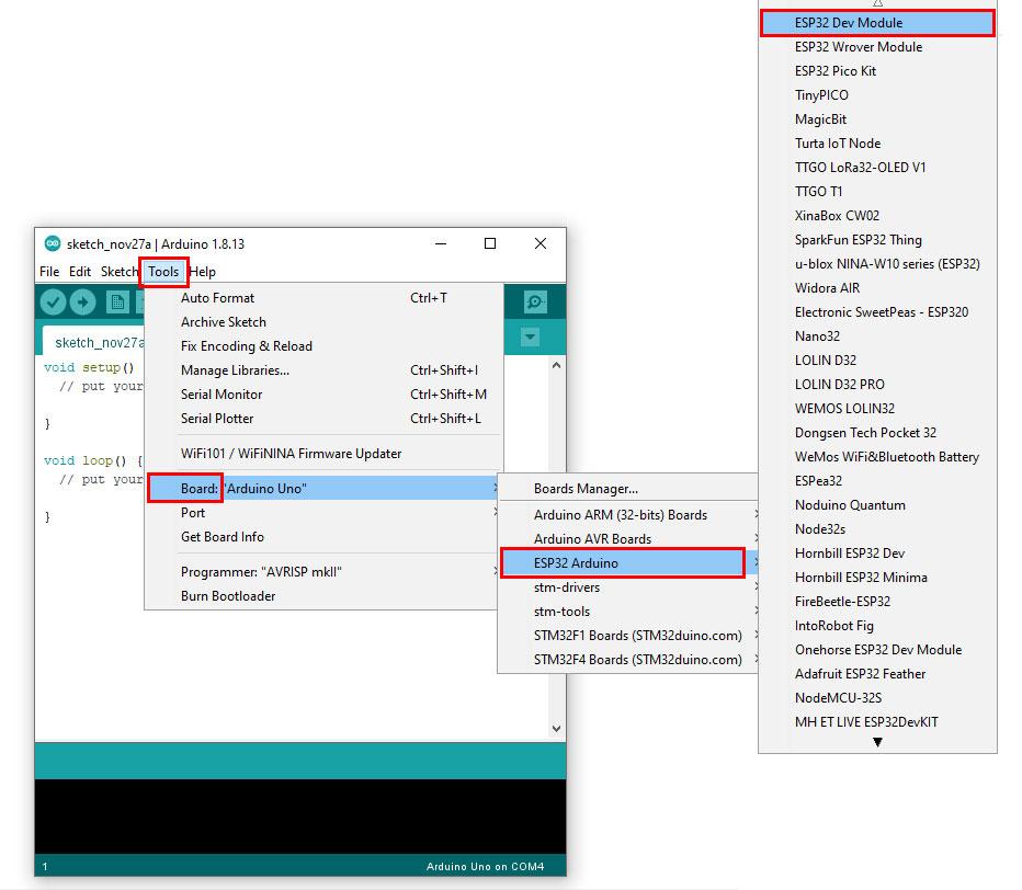 จนพบ ESP32 Dev Module แสดงว่าการติดตั้ง แพลตฟอร์ม ESP32 ของเราสำเร็จแล้ว