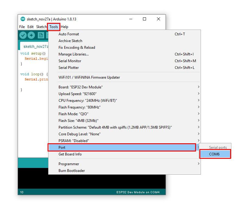 เลือก Port โดยไปที่ Tools -> Port -> COM6