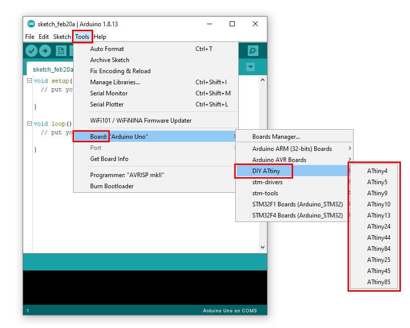 การใช้งาน AVR ATtiny กับ Arduino IDE