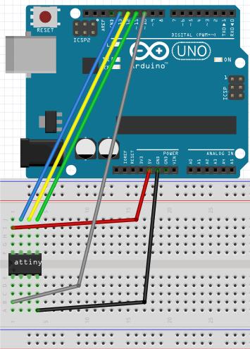 ต่อวงจร Arduino UNO กับ ATtiny13