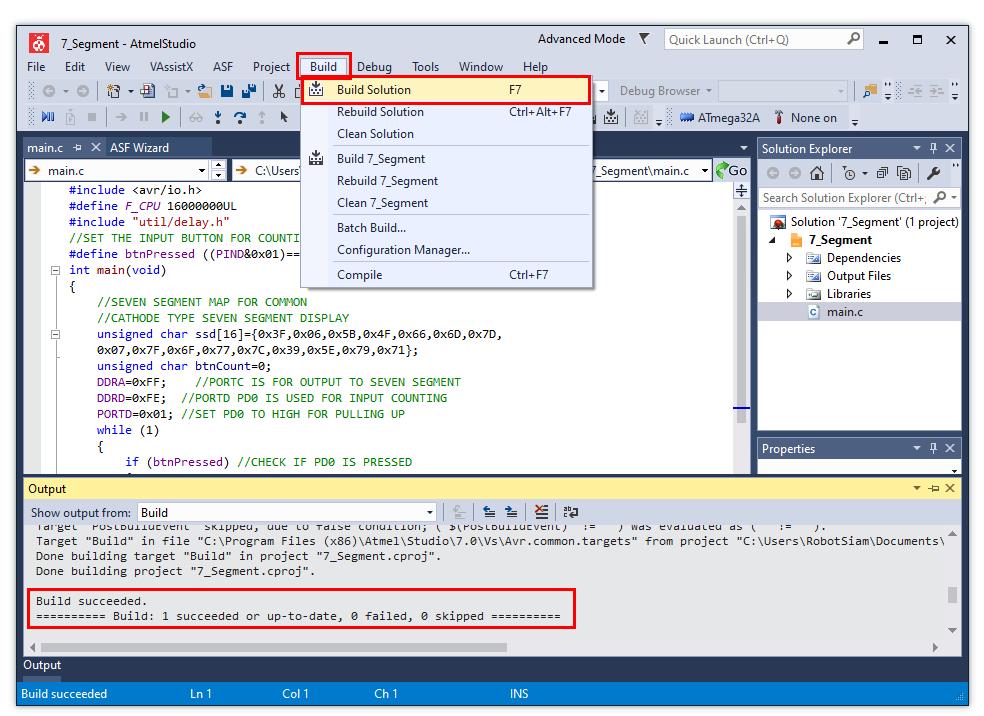 คอมไพล์โค้ด โดย คลิก Build -> Build Solution